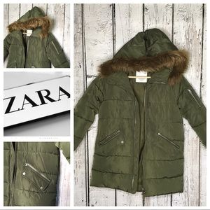 Zara Girls fur trimmed puffer coat